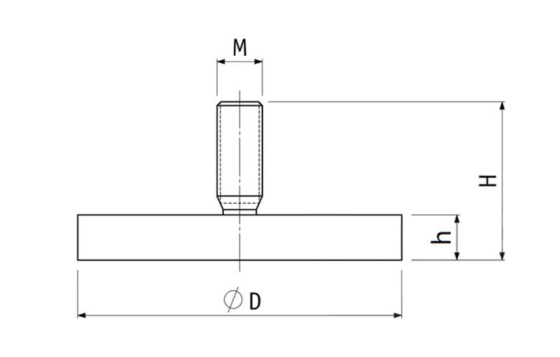 External Threaded Rubber Coated Pot Magnet
